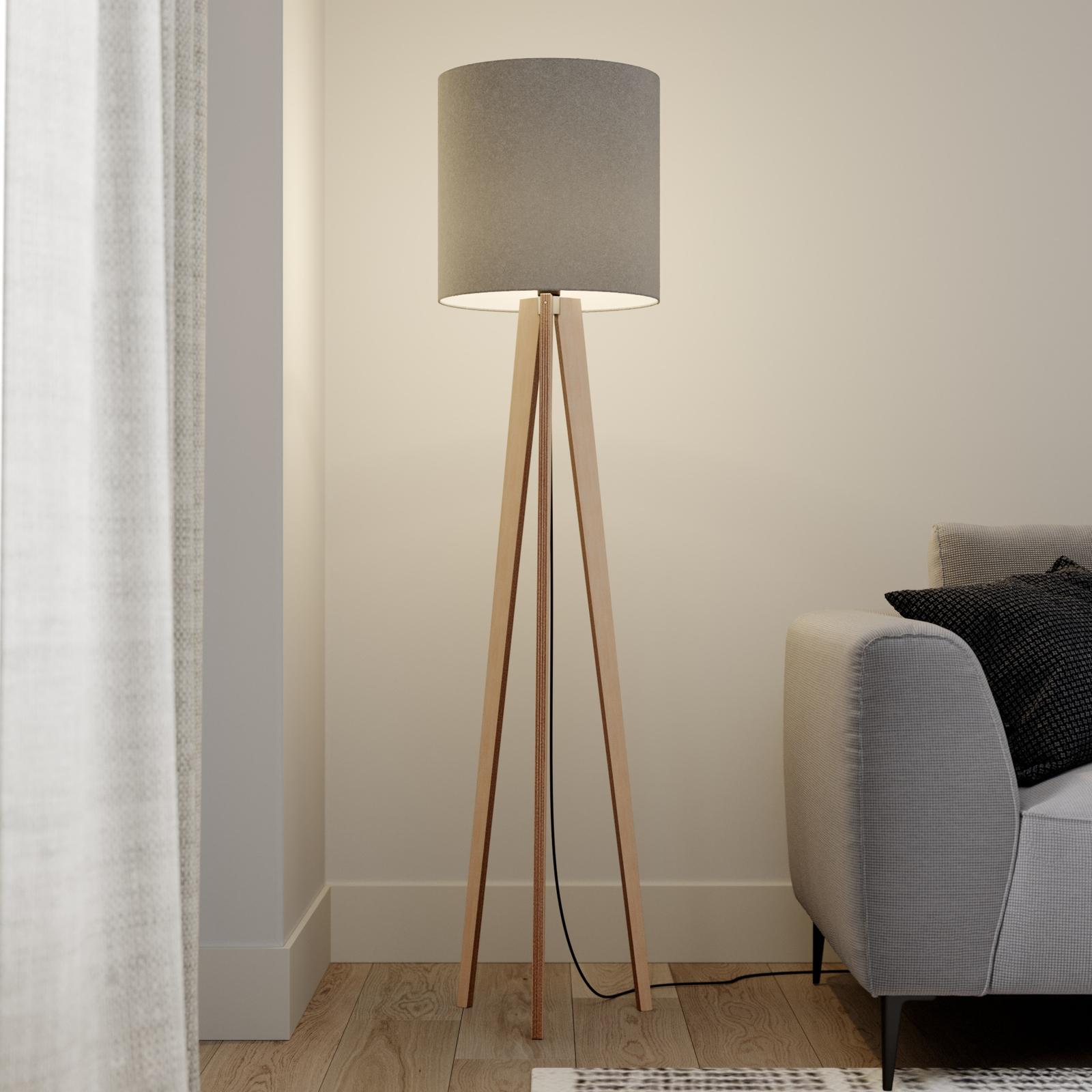 Textil-golvlampa Nida med trebent trästomme