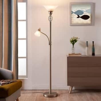 Nickelfärgad LED-golvlampa Dunja med läslampa
