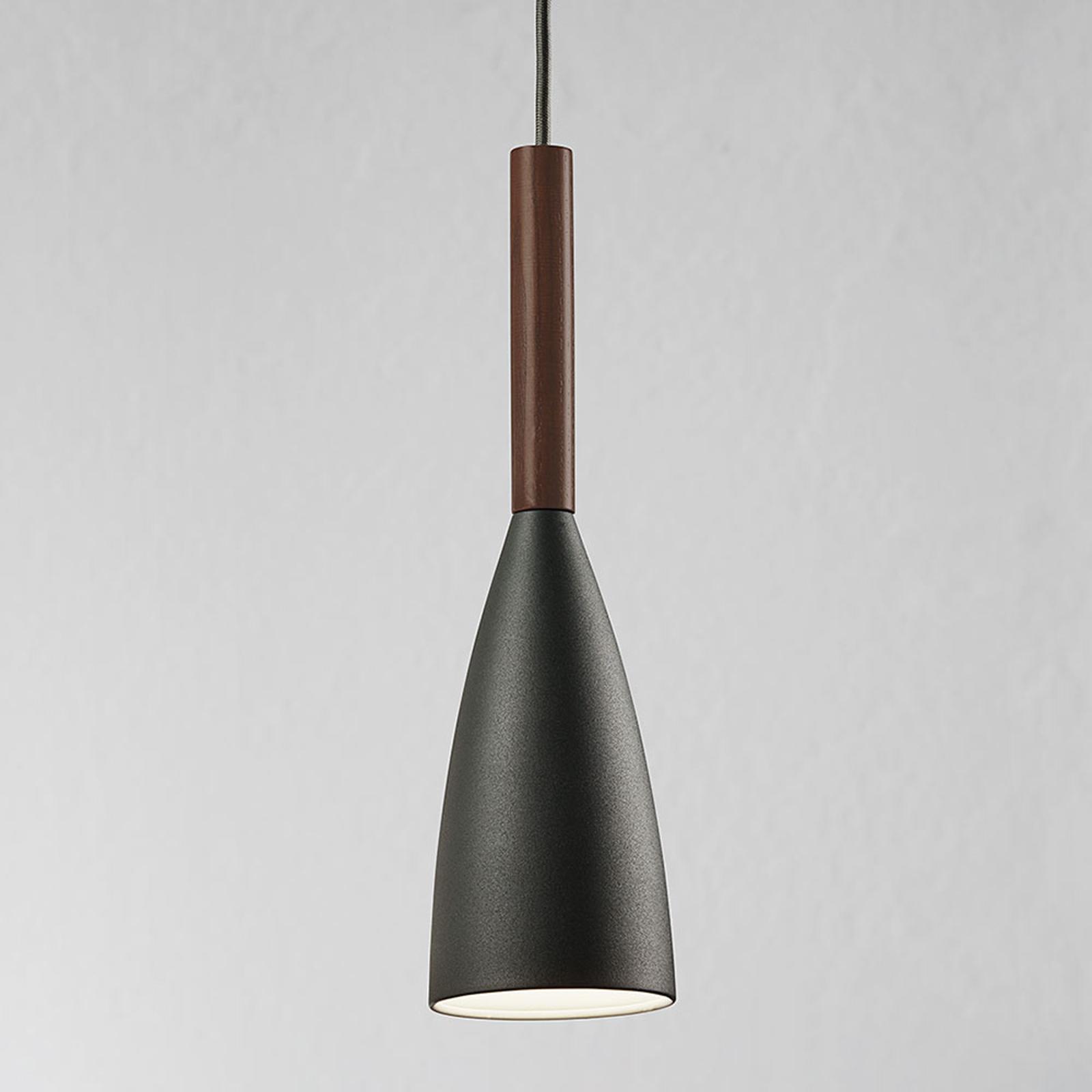 Hanglamp Pure met houtelement, grijs