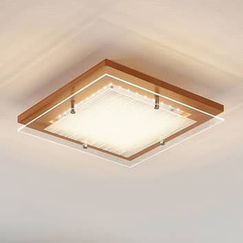 Houten LED plafondlamp Cattleya, 32 cm