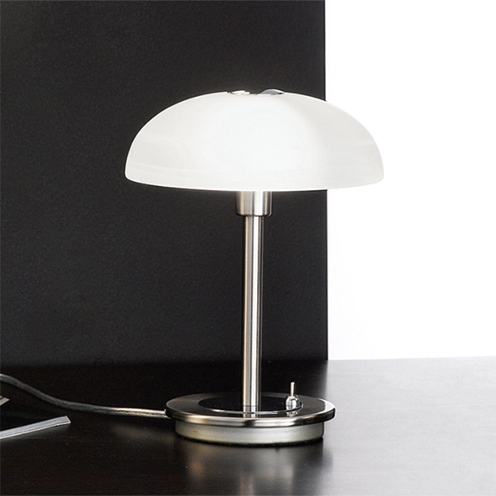 Timon - tafellamp met voetschakelaar, mat nikkel