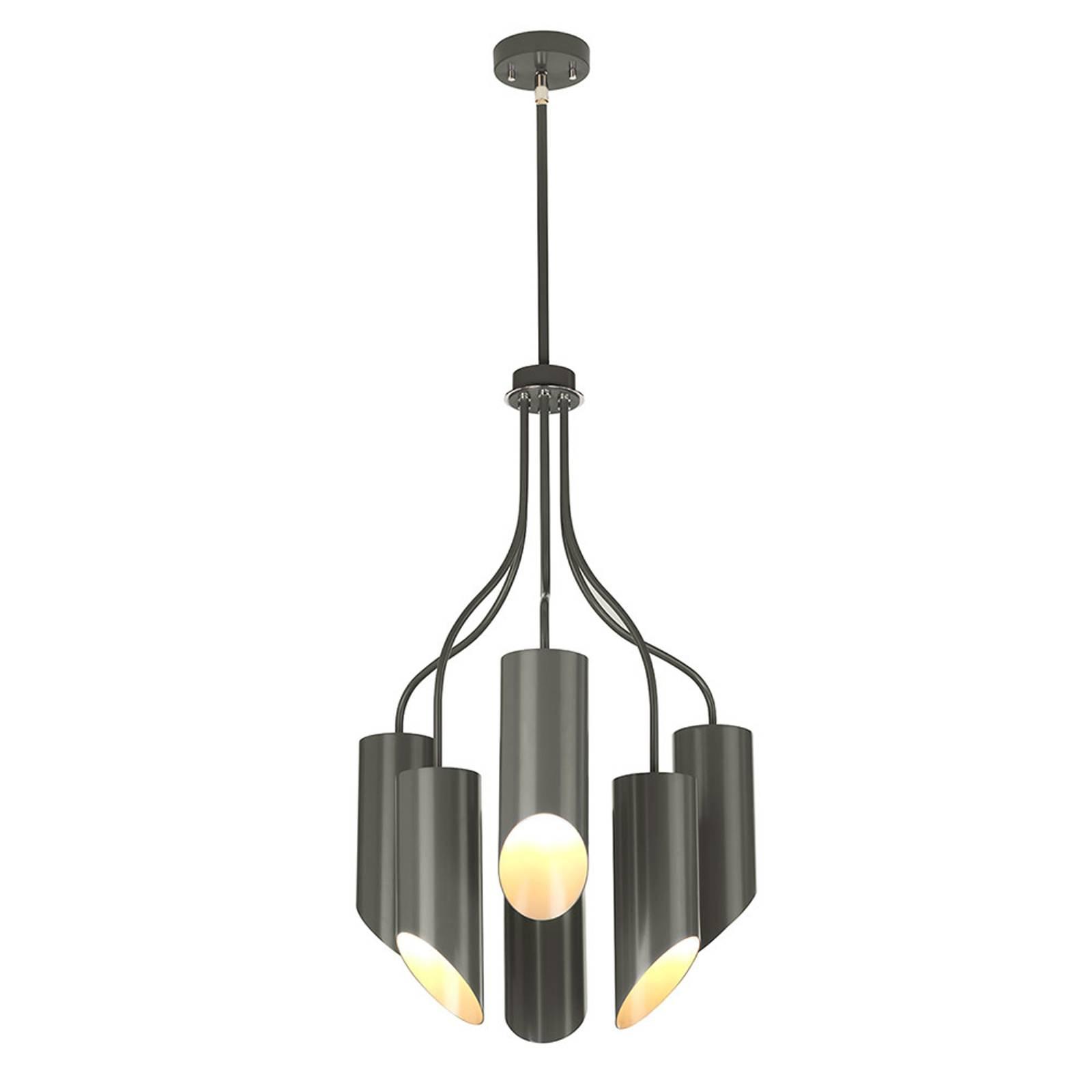 Suspension Quinto à 6 lampes, gris foncé/nickel