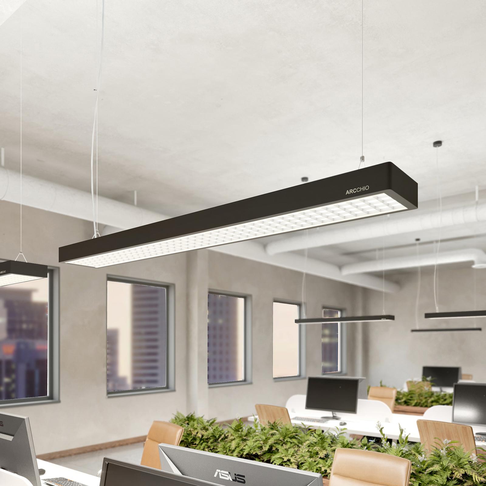 Susi LED-kontorhængelampe, kan dæmpes m DALI, sort