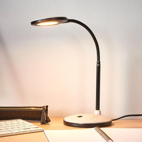 LED stolní lampa Ivan ve světle šedé a černé
