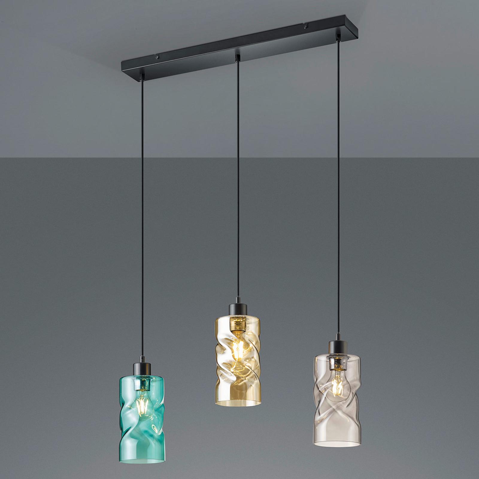 Balk hanglamp Swirl met glazen kappen, 3-lamps