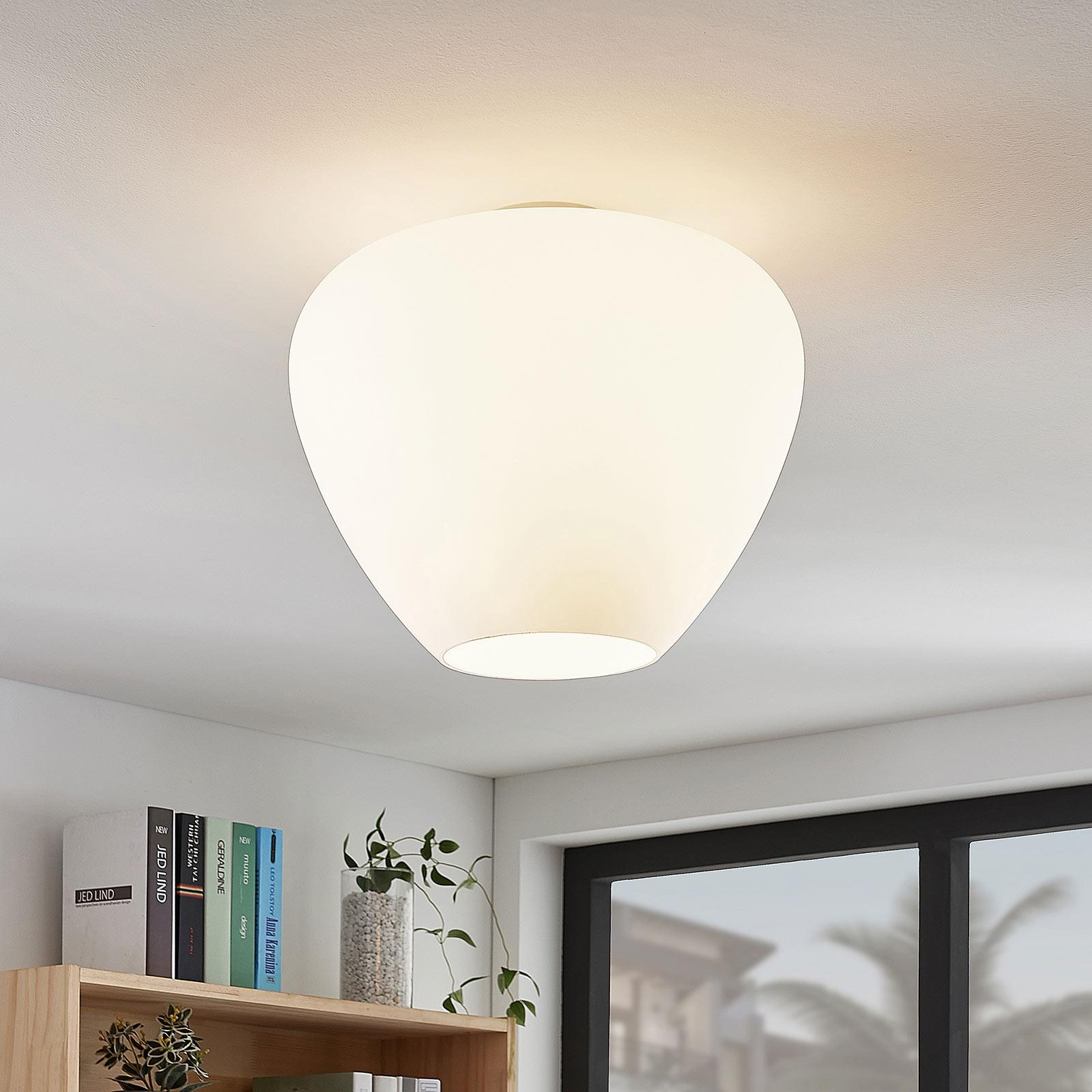 Szklana lampa sufitowa Bibiane, biała opalowa