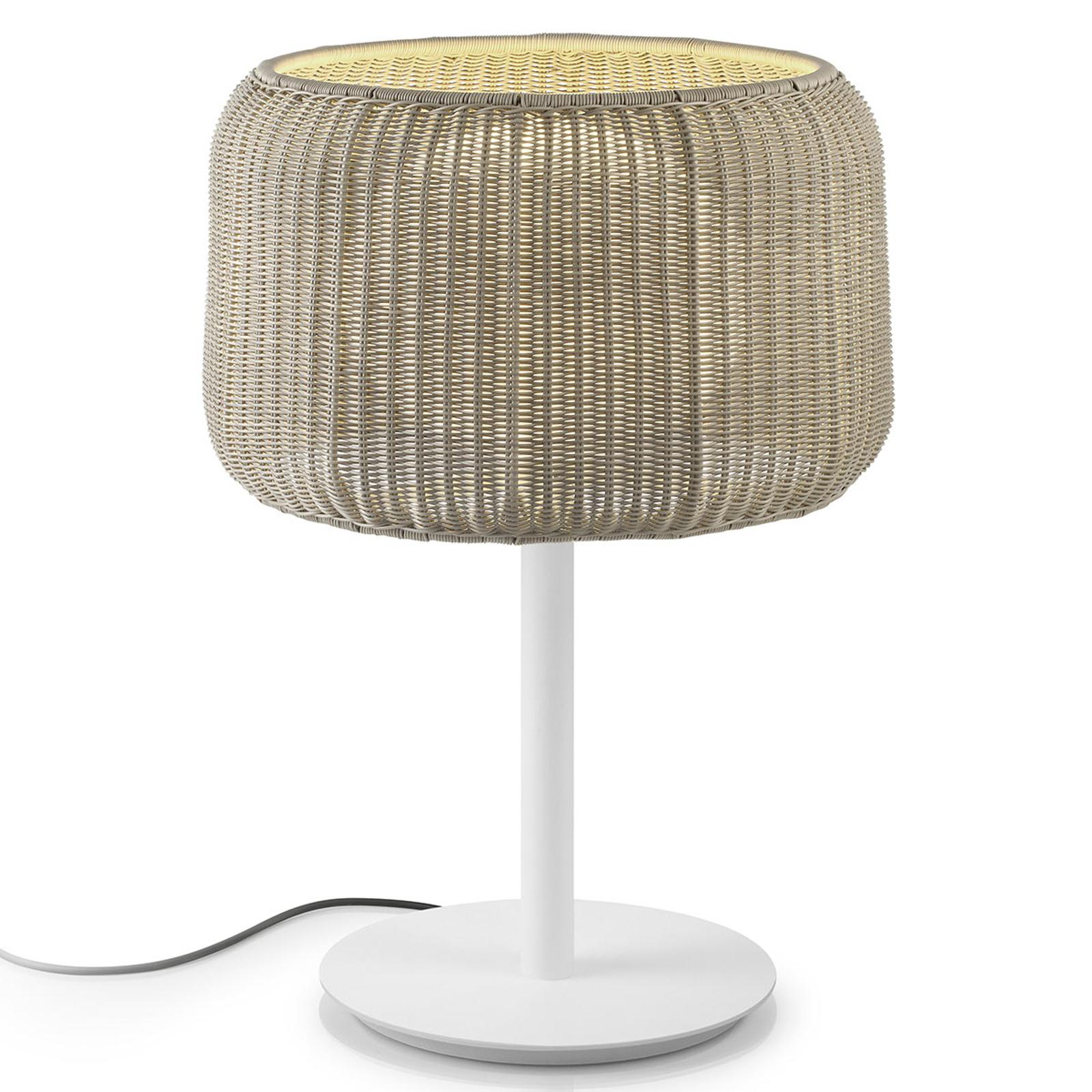 Bover Fora M - utomhusbordslampa, vit-beige