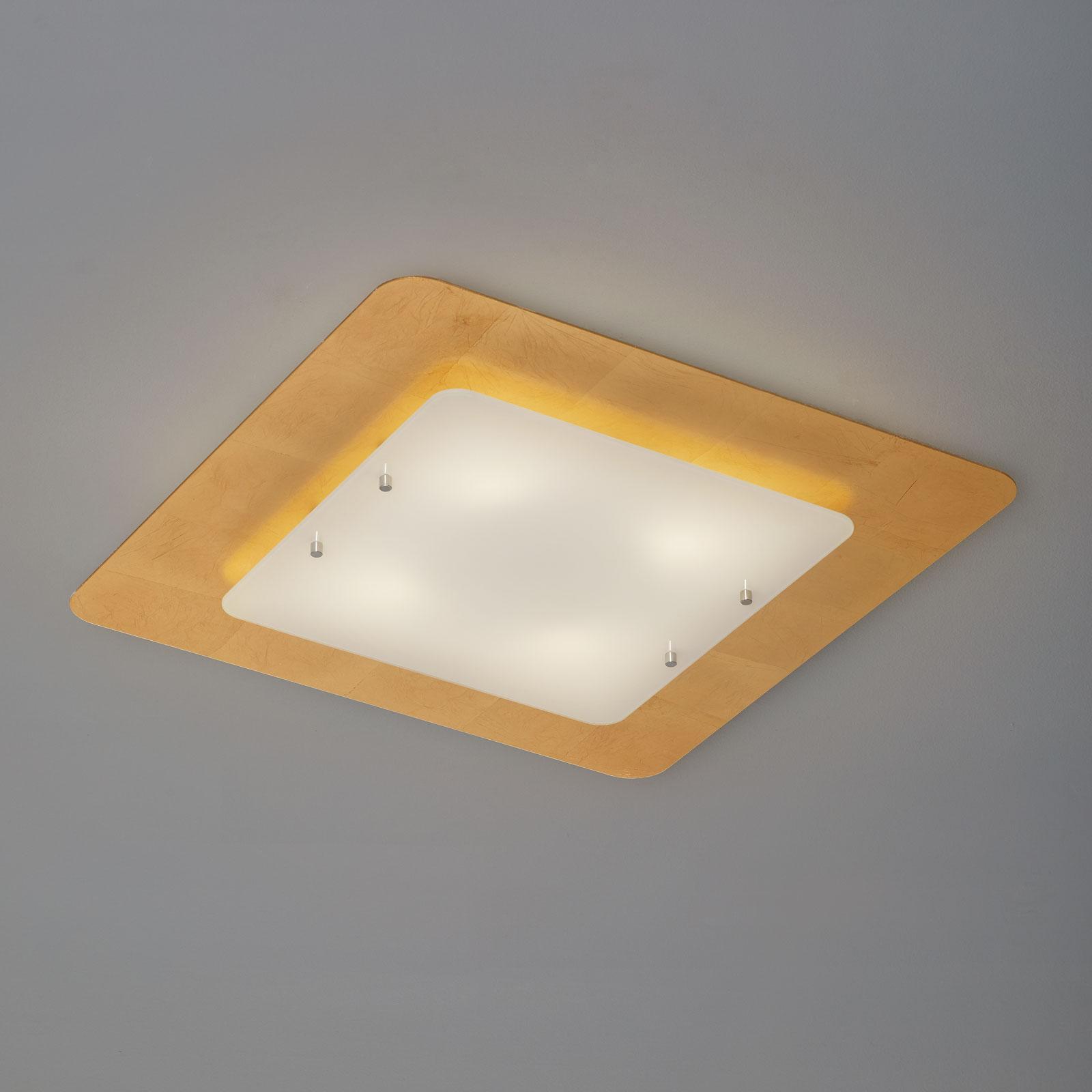 Taklampe Pop up med bladgullramme 60 x 60 cm