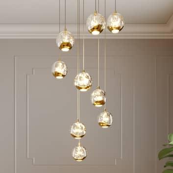 Lucande Hayley lampada LED sospensione 9 luci, oro