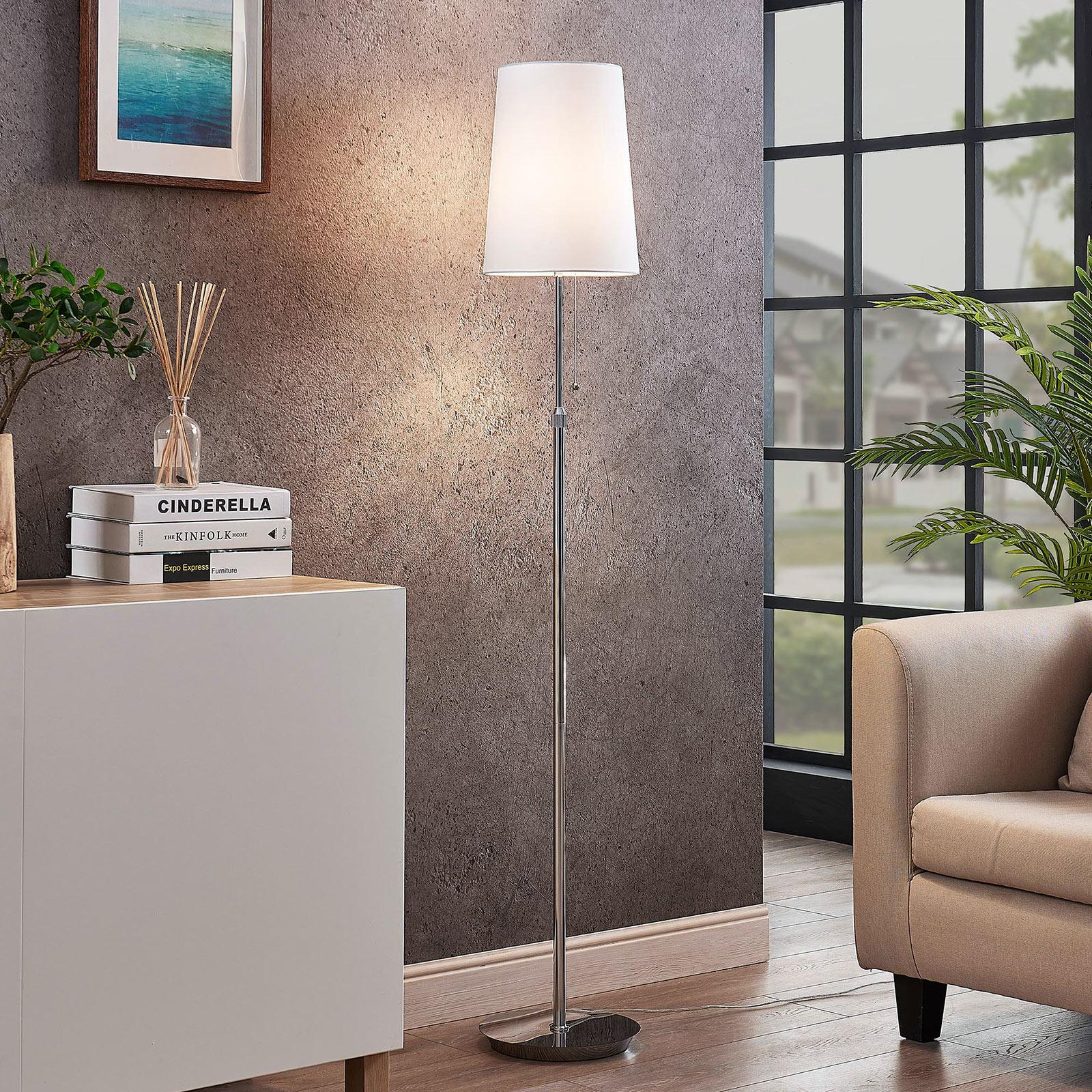 Lucande Pordis vloerlamp, 164 cm, chroom-wit