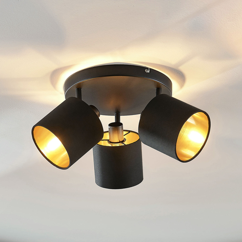 Væglampe Vasilia i stof, sort-guld, 3 lyskilder