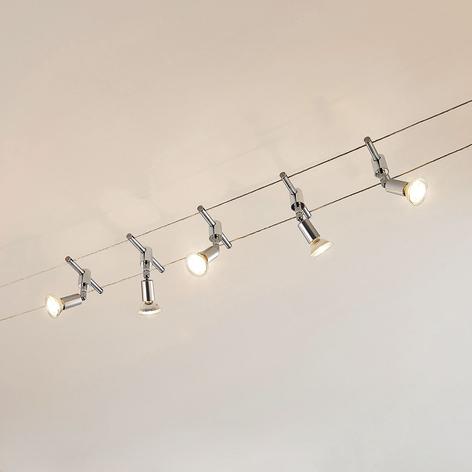 Wiresystem Rope med fem lyskilder og LED-spots