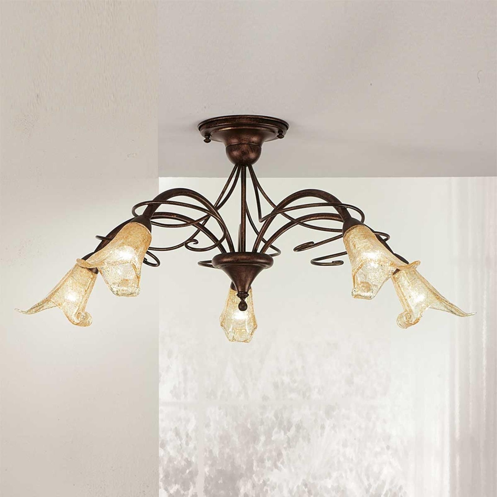Plafondlamp RICCARDO met floraal cachet, 5-lichts