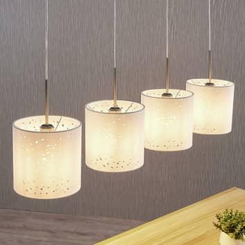Hanglamp Umma, gaatjesontwerp, 4-lamps, wit