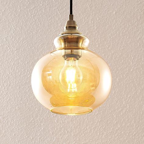 Lindby Tymoni Glas-Pendelleuchte, amber, 1-fl.