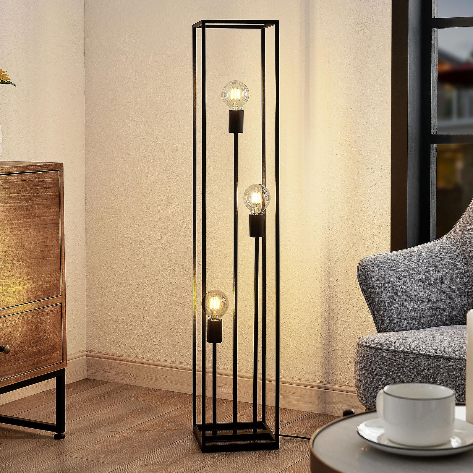 Lindby Krisha Stehlampe aus schwarzem Stahl, 3-fl.