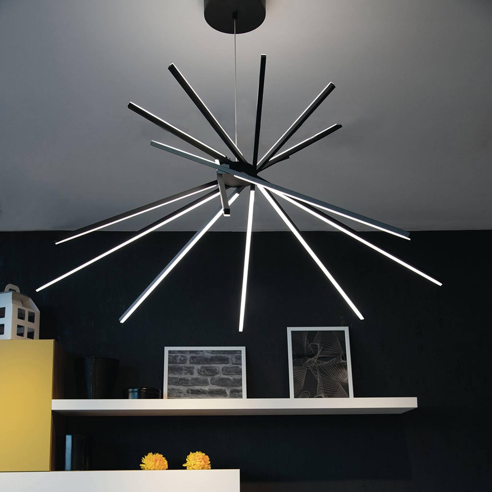 LED-Hängeleuchte Shanghai 8-fl. 3.000 K schwarz