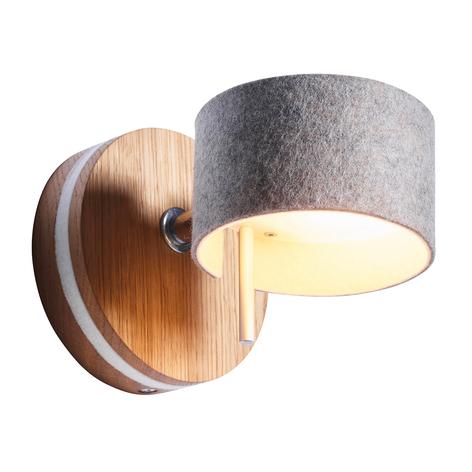 LED væglampe Frits med egetræ og filt
