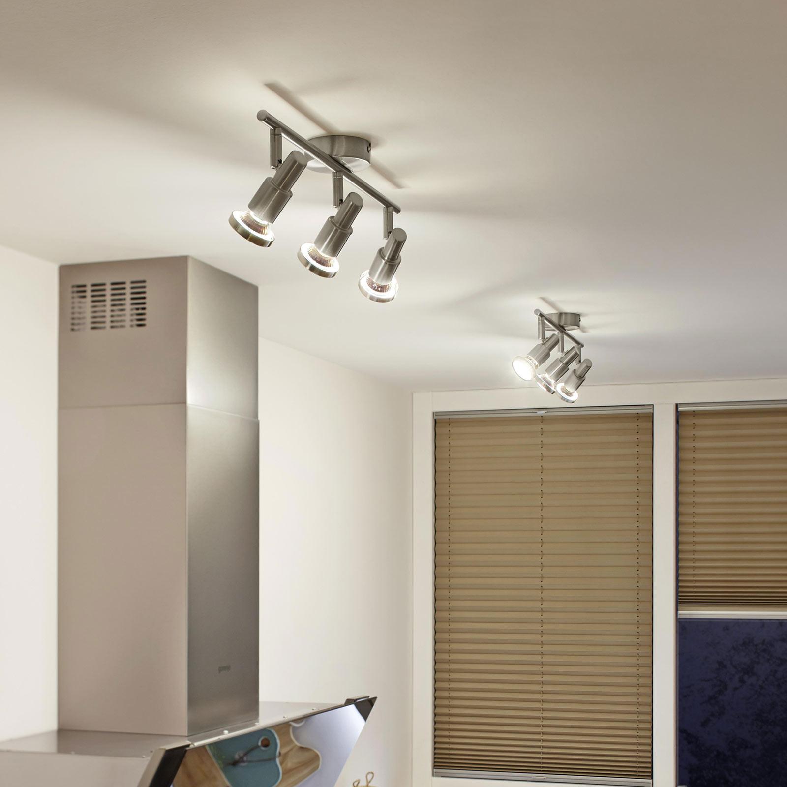 LEDVANCE Niclas LED-spotlight, nickel, 3 lampor