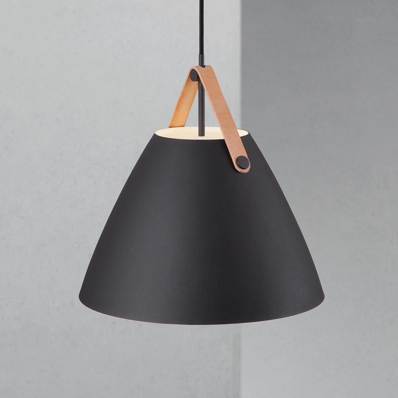 Lampada LED a sospensione Strap, decoro in pelle