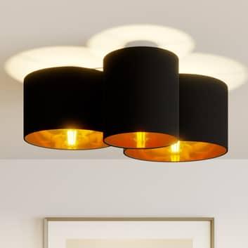 Lindby Laurenz plafondlamp, 3-lamps, zwart-goud
