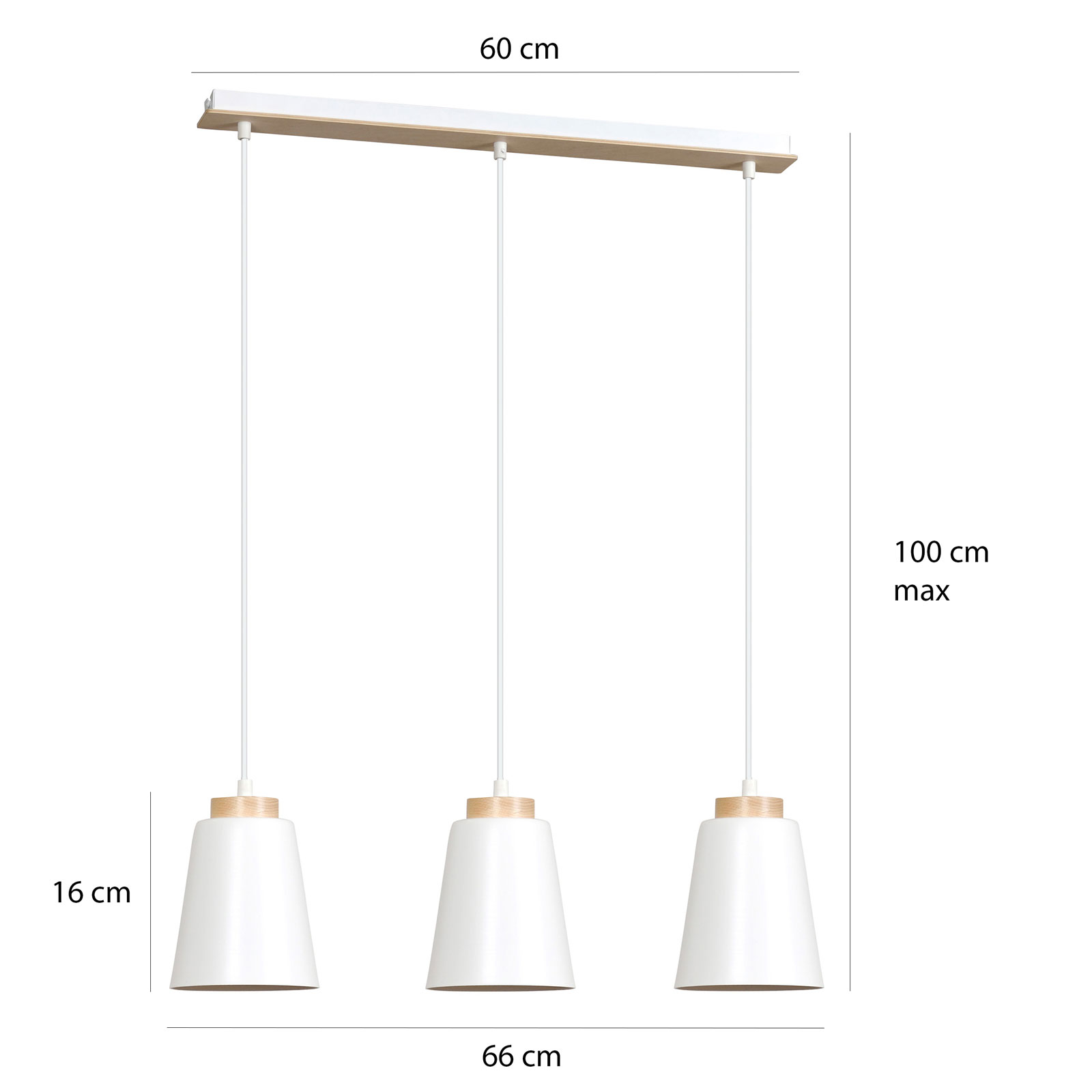 Lampa wisząca Bolero 3, 3-punktowa, biała