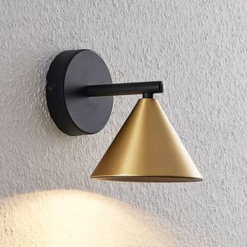 Lucande Kartio vägglampa, 1 lampa, mässing