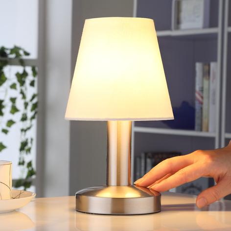 Natbordslampe Hanno med hvid tekstilskærm