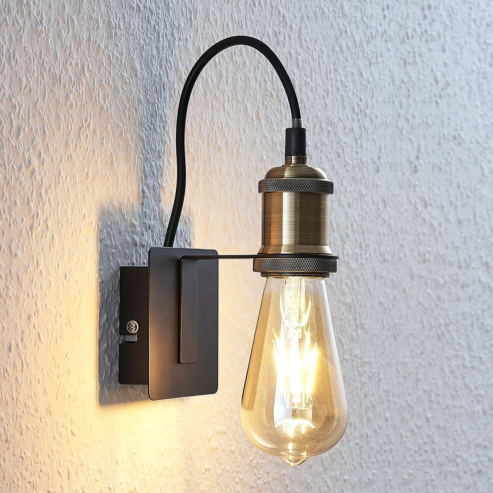 Vintage wandlamp Aurella, antiek koper
