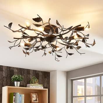 Stropní lampa Yos v dekoru listů, 8bodová, černá