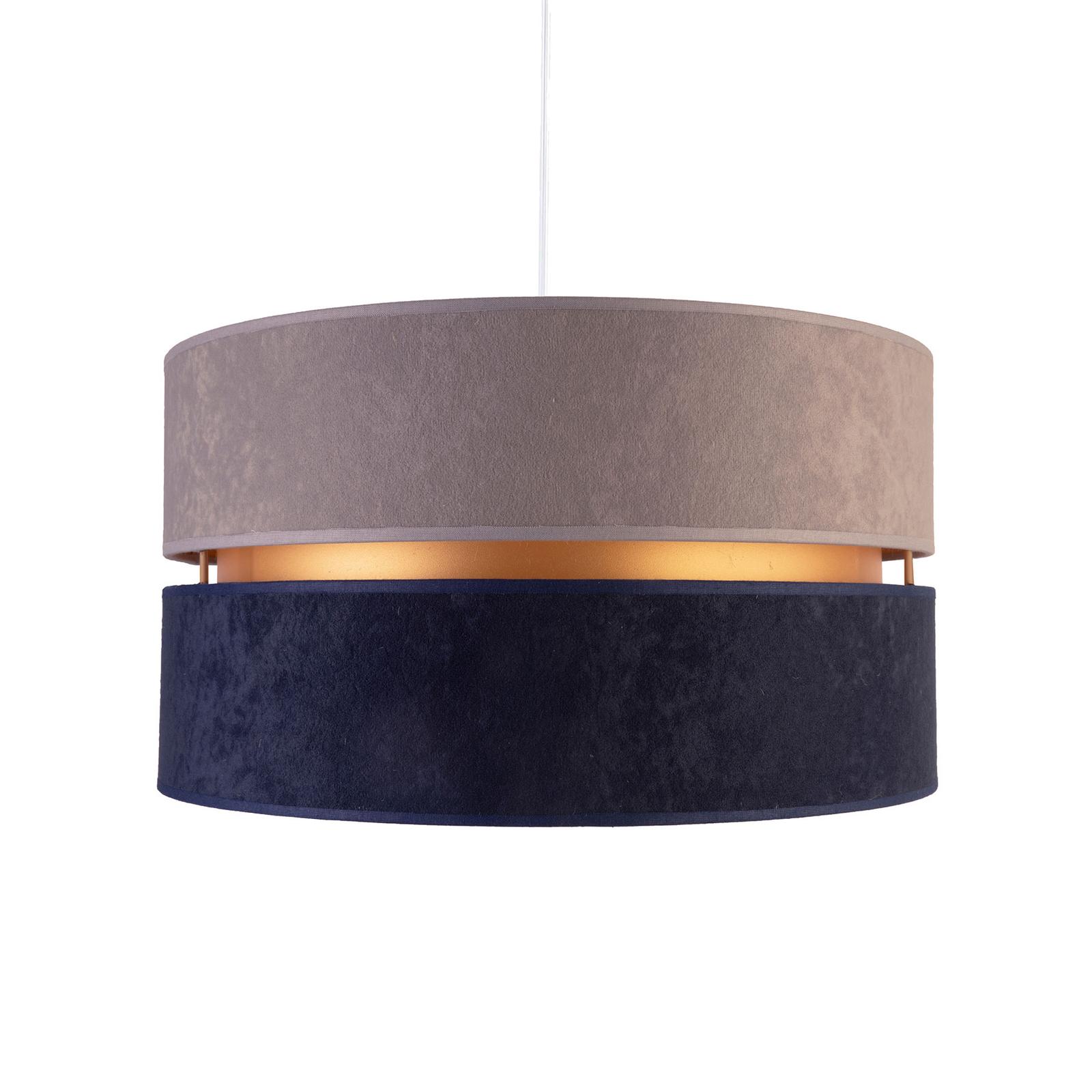 Lampa wisząca Duo, granatowa/beżowa/złota
