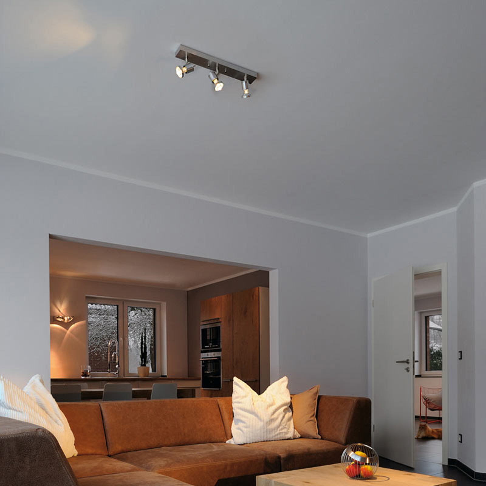 Plafonnier ASTO à 3 ampoules avec anneau décoratif