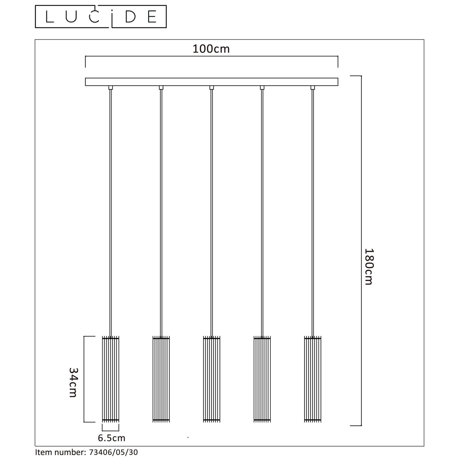 Suspension linéaire Lionel avec 5 abat-jour
