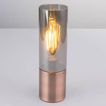 Stolní lampa Annika, měďěná kouřově šedá