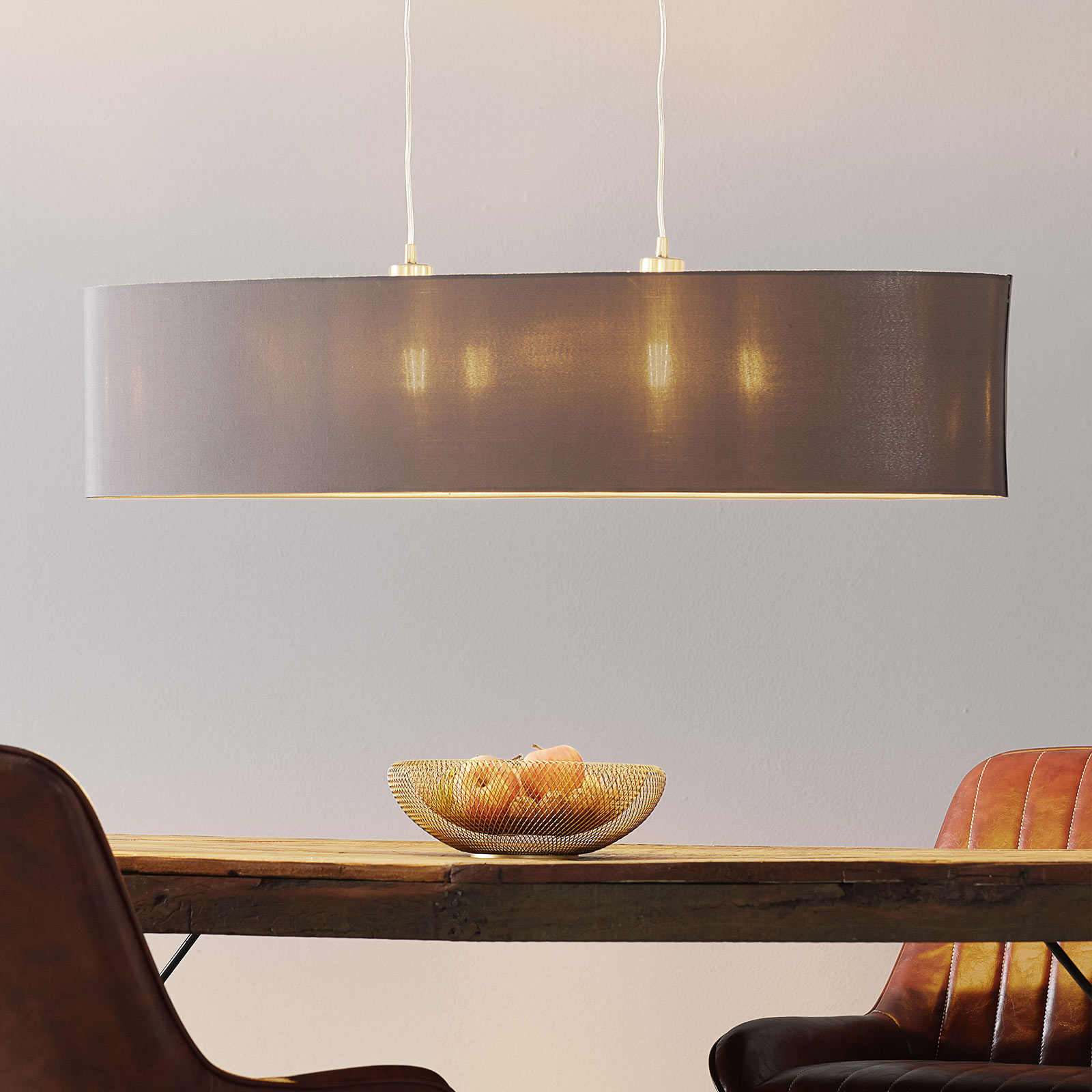 Lampa wisząca z tkaniny Maserlo, cappuccino 100 cm