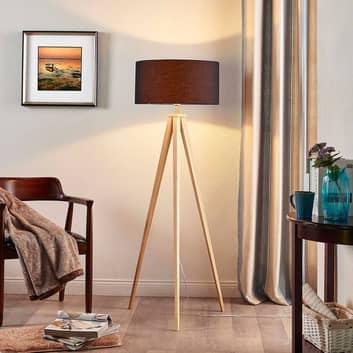 Lámpara de pie madera Mya pantalla de tejido negro