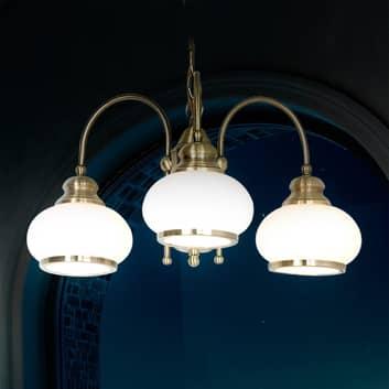 Hengelampe NOSTALGIKA av antikk messing, 3 lys