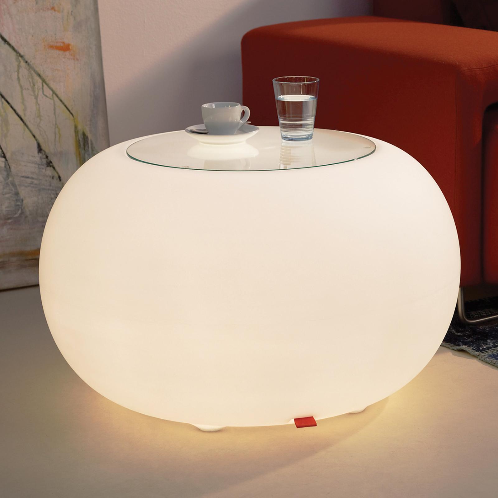 Bijzettafel BUBBLE, wit licht met glasplaat