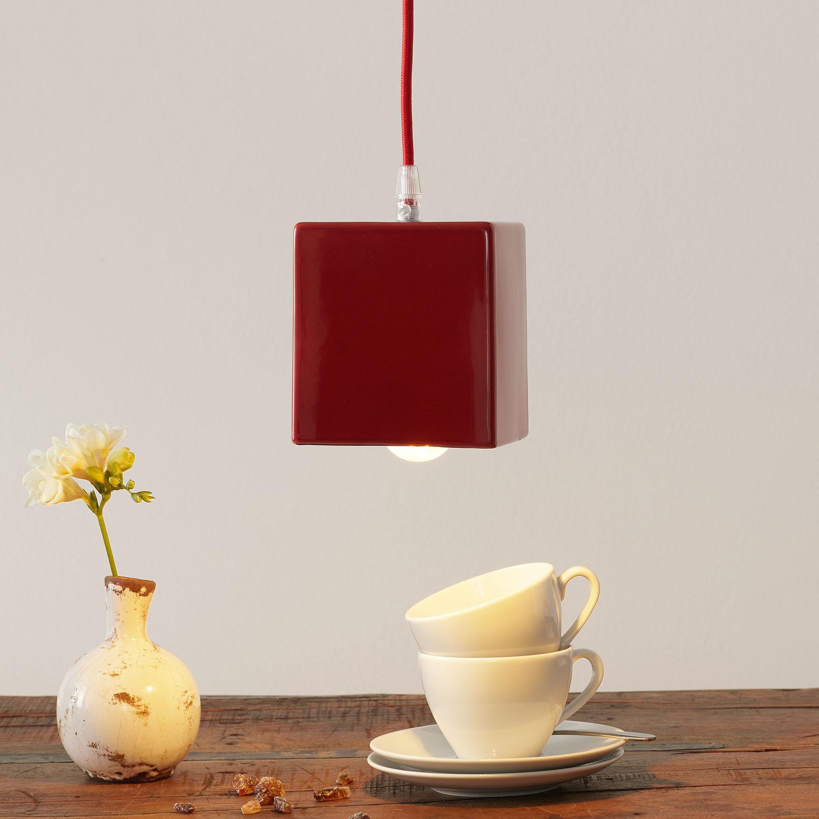 Keramiek-hanglamp S1862, rood/blauw
