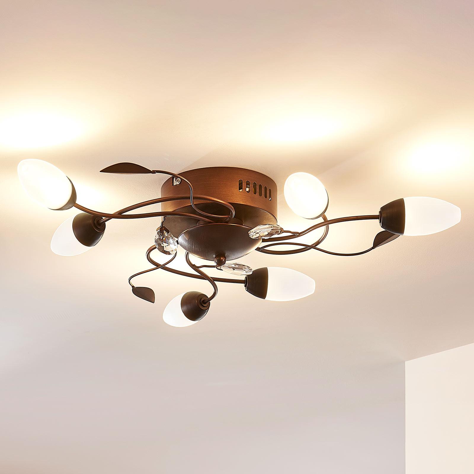 Dimbare LED plafondlamp Renato, 6 lampen, bruin