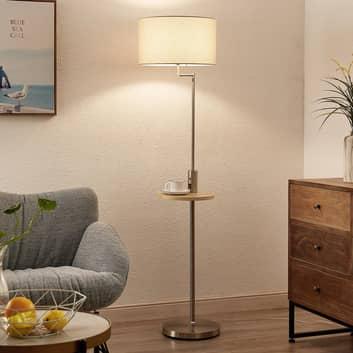 Lindby Zinia stojací lampa s poličkou a USB, nikl