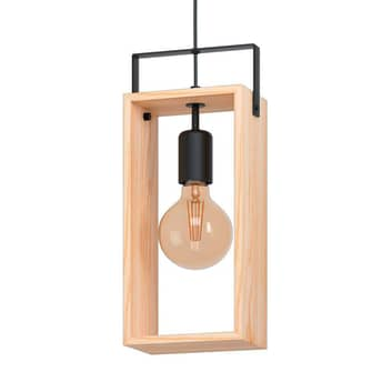 Závěsné světlo Famborough ze dřeva, jeden zdroj