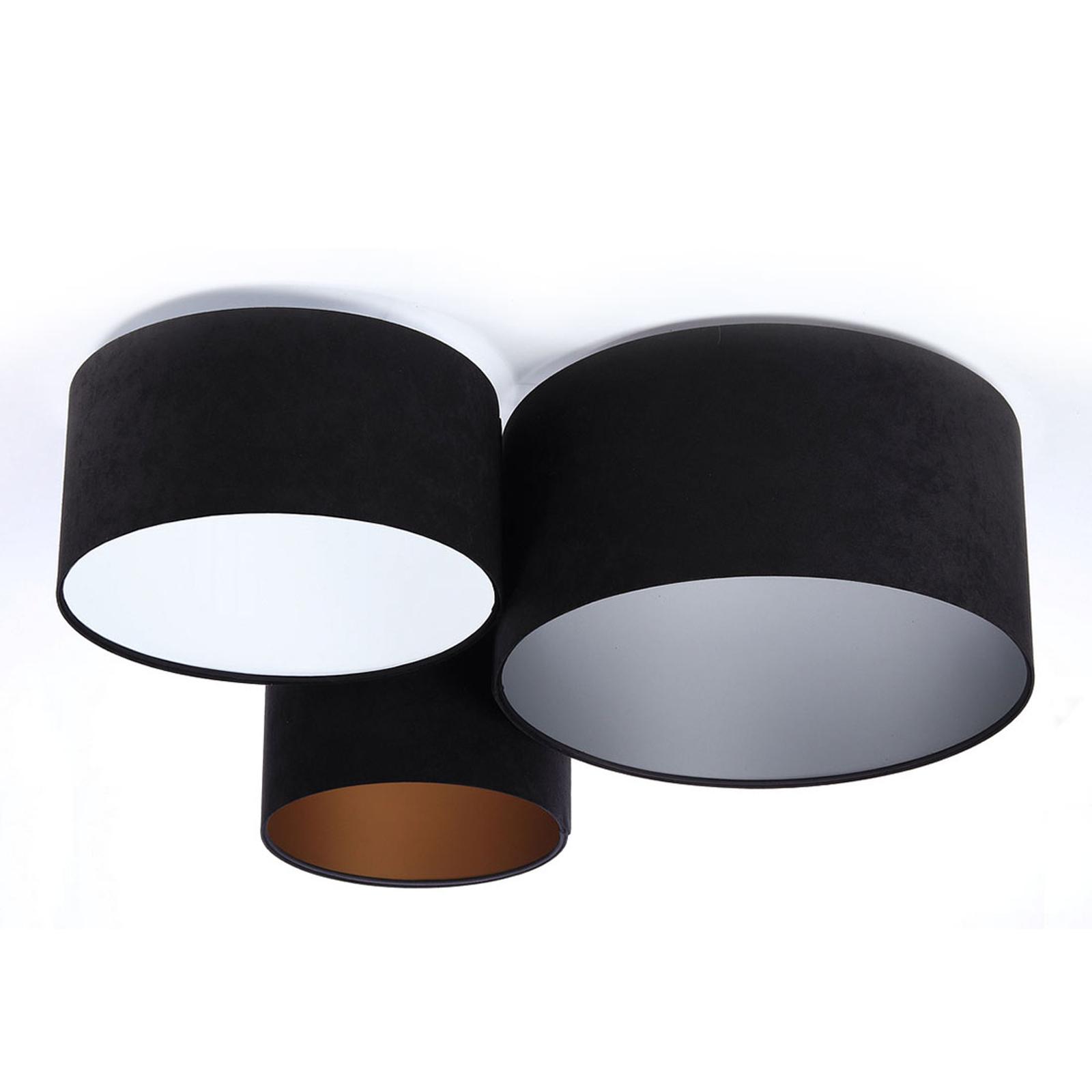 Lampa sufitowa 080, czarna+trójkolorowa