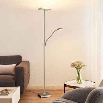 Lindby Sumani LED stojací lampa, hranatá, nikl