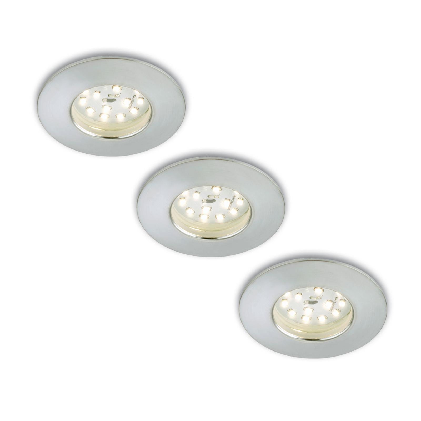 Set van 3 LED inbouwspots Nikas IP44 aluminium