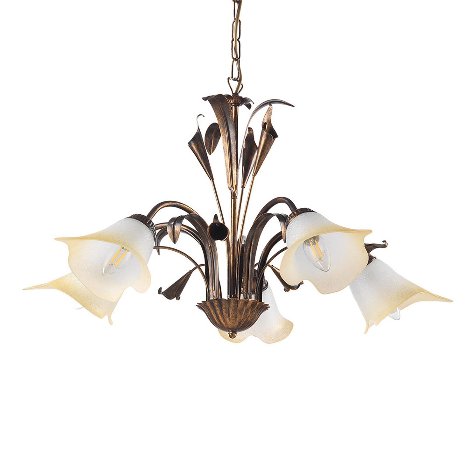 Suspension Lucrezia à 5 lampes, bronze