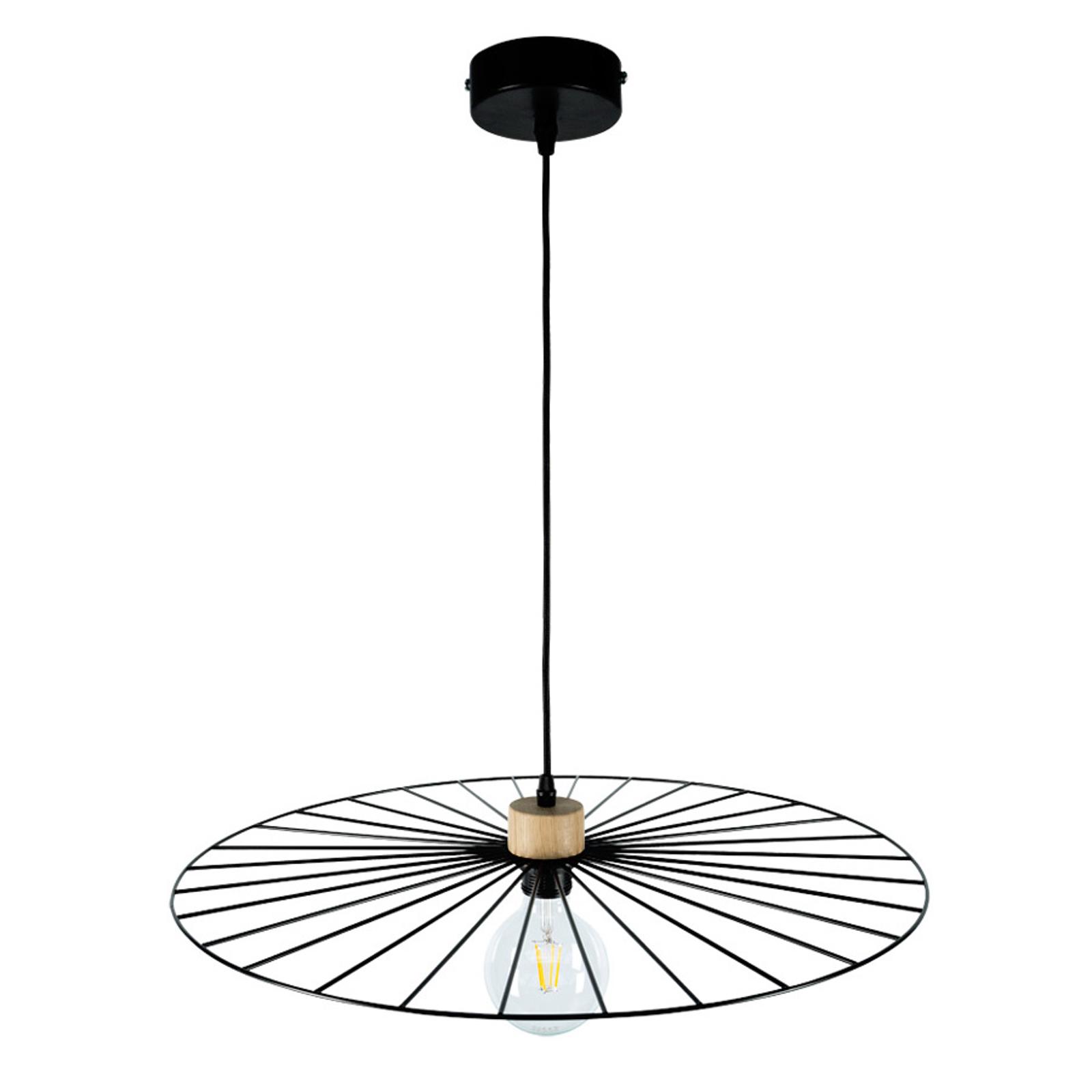 Lampa wisząca Antonella czarna, detal drewno Ø65cm