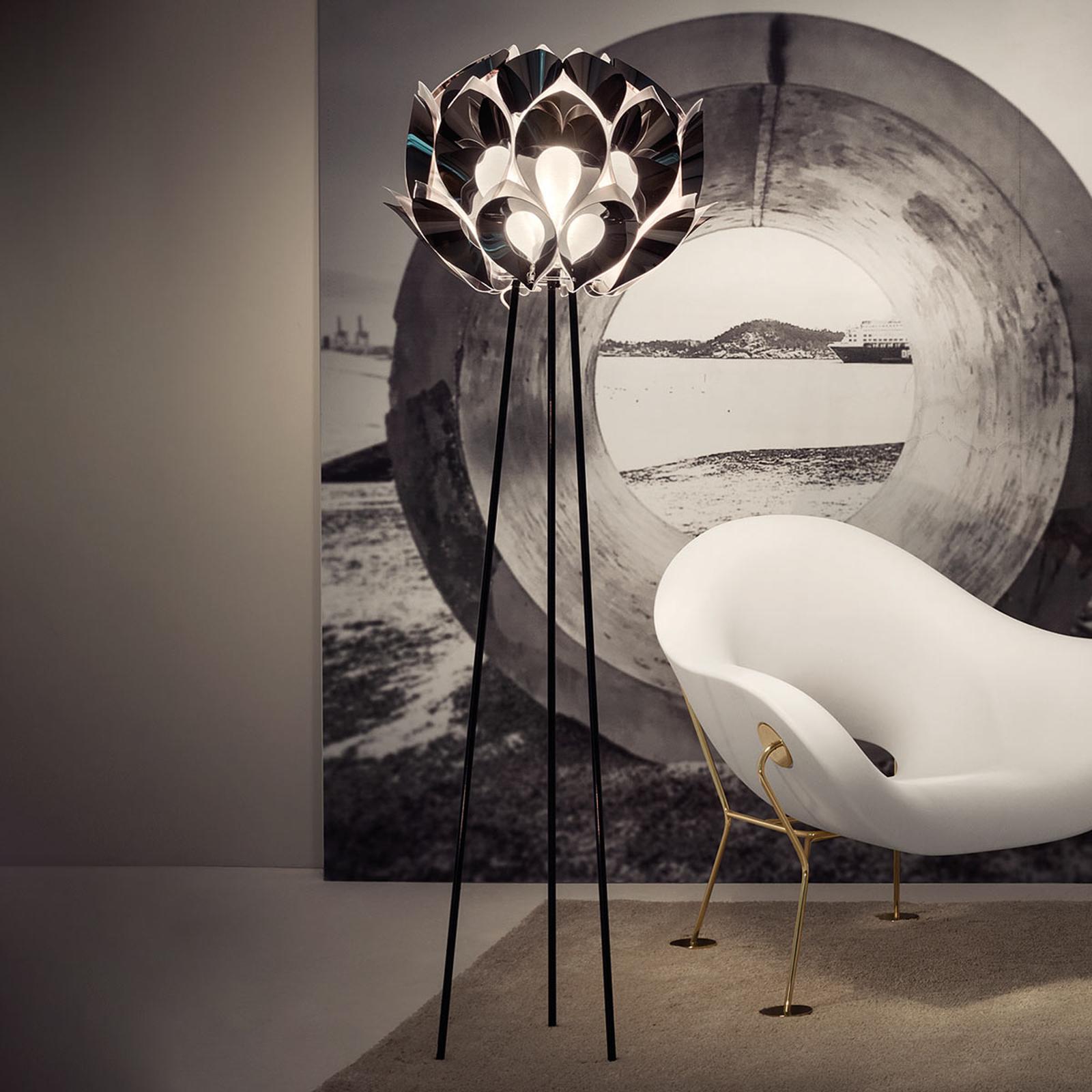 Designer-stålampe Flora, sølv