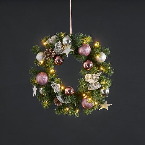 Noel LED věnec se stříbro/růžovou dekorací