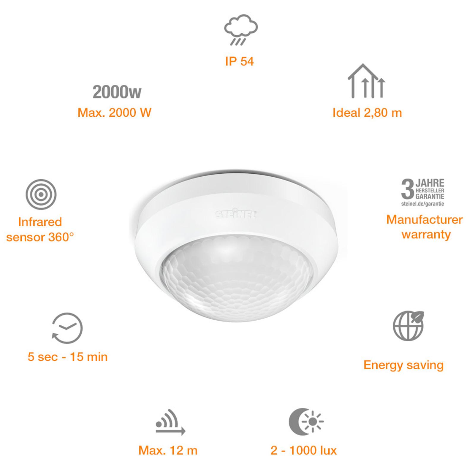 Steinel Is 360-1 240 V 1000 W de Potencia de conmutaci/ón 1000 W Plateado Apto para LED Detector de Movimiento m/áx Alcance de 4 m Sensor de 360/° 034917 1000W 240V